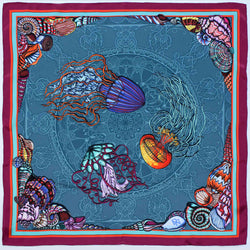 Dancing Jellyfish Turquoise Scarf