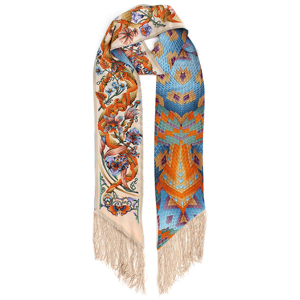 Tropical Iridescence Beige Fringed Skinny Scarf
