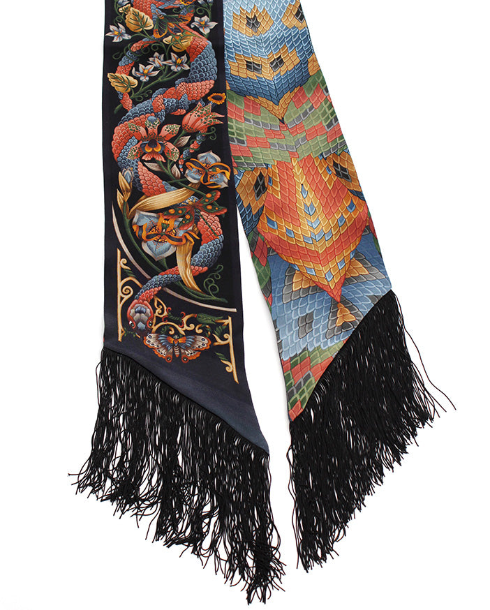 Tropical Iridescence Dark Fringed Skinny Scarf