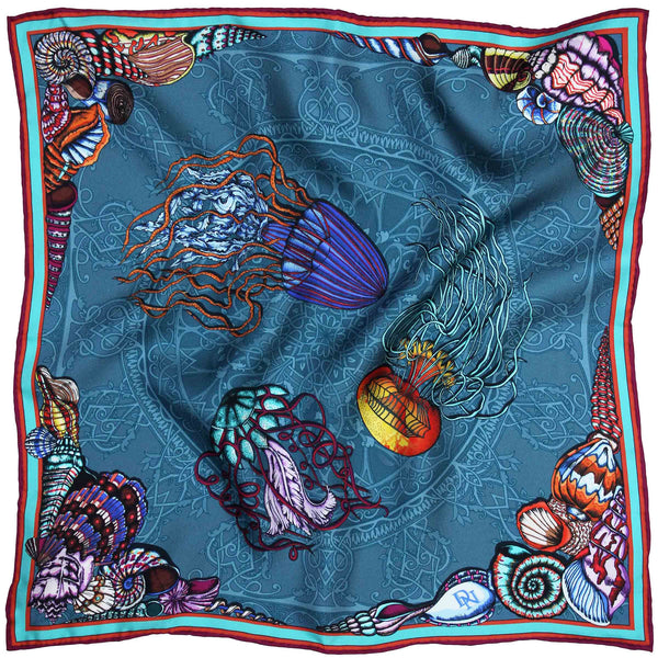 Dancing Jellyfish Turquoise Pocket Square