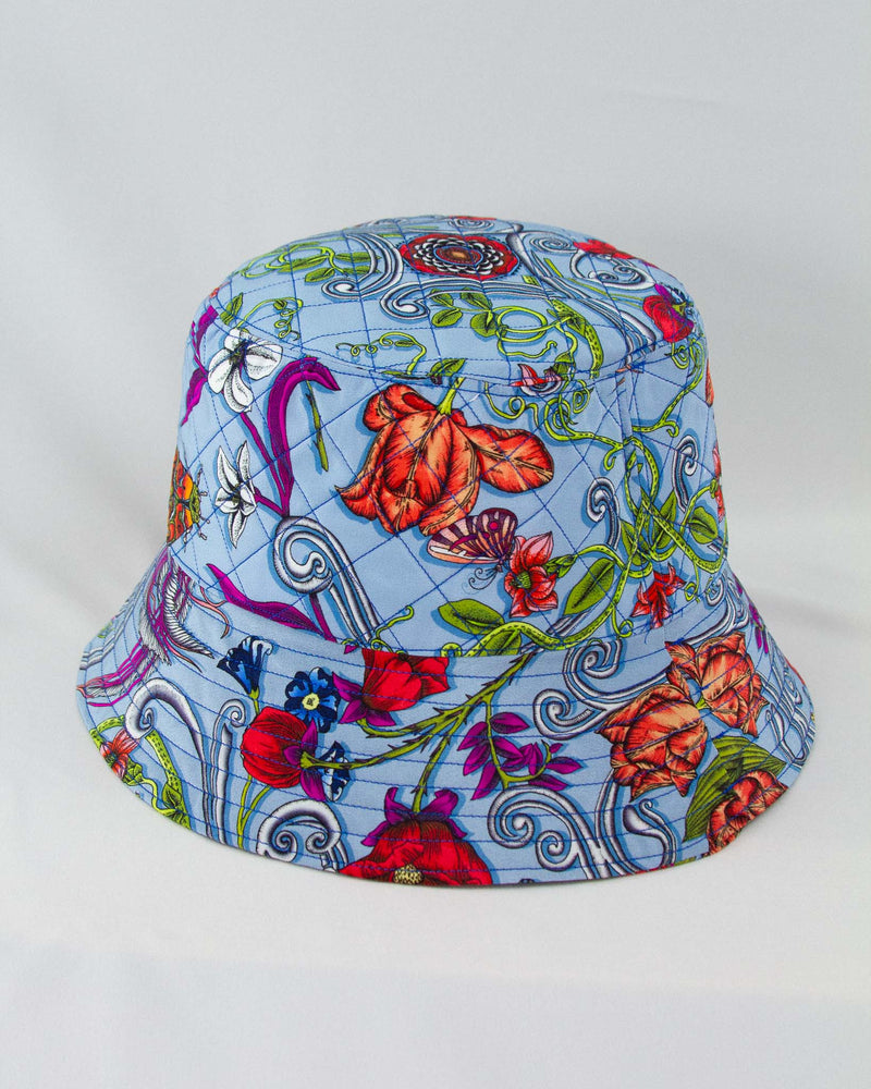 Delany Blue Silk Bucket Hat
