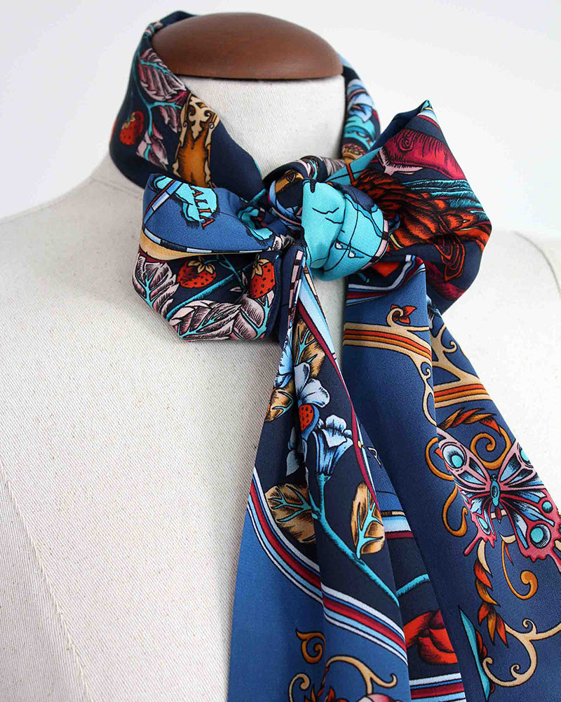 Skinny Silk Scarf Tied in a bow