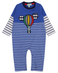 Stripe Applique Playsuit- Balloon Trip
