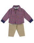 3 Piece Check Shirt Set