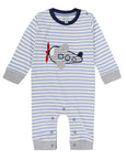 Stripe Applique Playsuit- Aeroplane