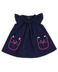 Applique Cord Dress- Kitty Pockets