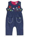 Embroidered Denim Dungaree- Florals