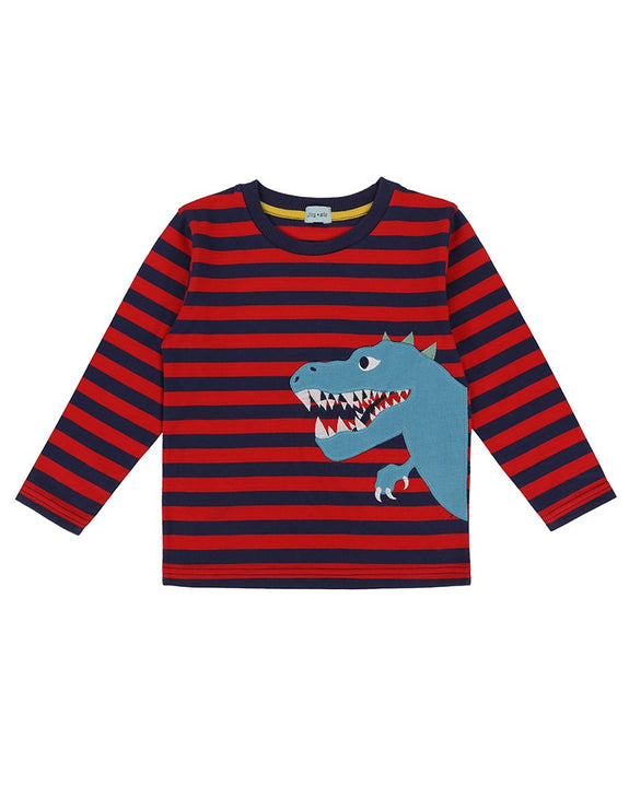 Dino Stripe Applique Top- Red/Navy