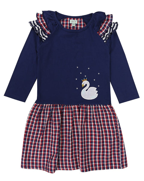 Swan Applique Check Dress
