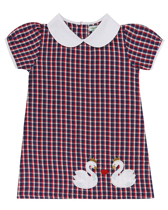 Mix Fabric Dress Swan/Check