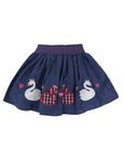 Applique Hem Skirt- Denim Swan