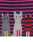 Applique Hem Jersey Dress- Cool Cats