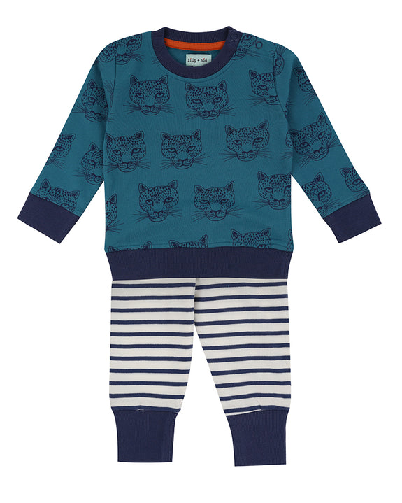 Cheetah Baby Sweatshirt And Stripe Leggings Set