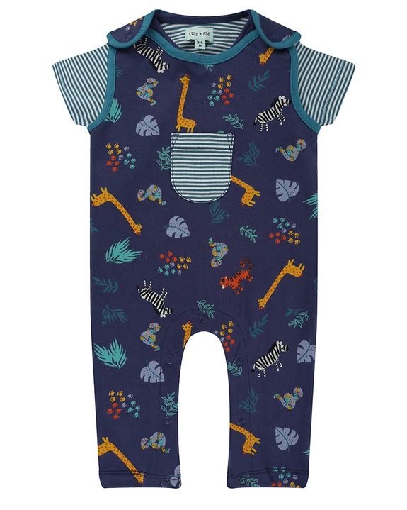 Safari Print Dungaree Set