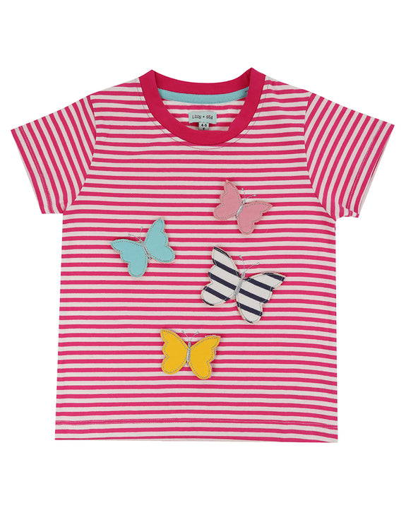 3-D Butterfly Stripe Top