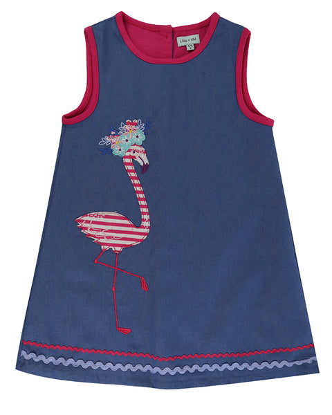 Applique Pinafore- Flamingo