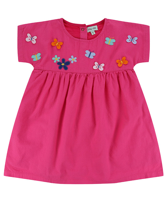 Embroidered Yoke Dress- Butterfly