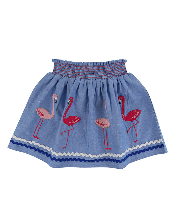 Applique Hem Skirt- Flamingo