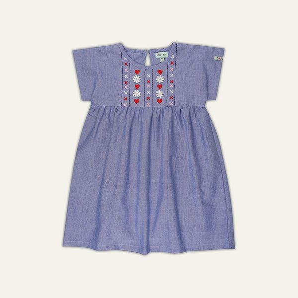 EMBROIDERED YOKE DRESS - CHAMBRAY