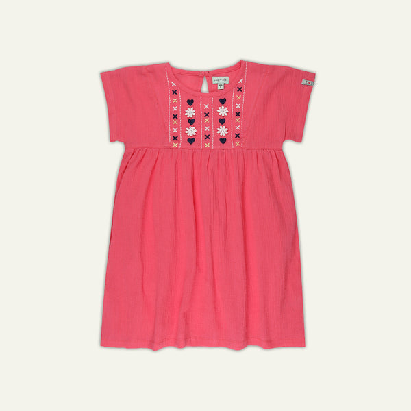 EMBROIDERED YOKE DRESS - PINK