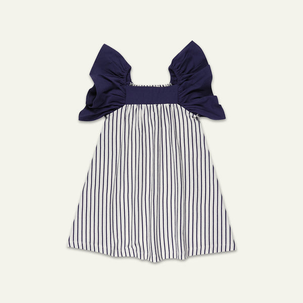 JERSEY SUNNY DRESS - NAVY STRIPE