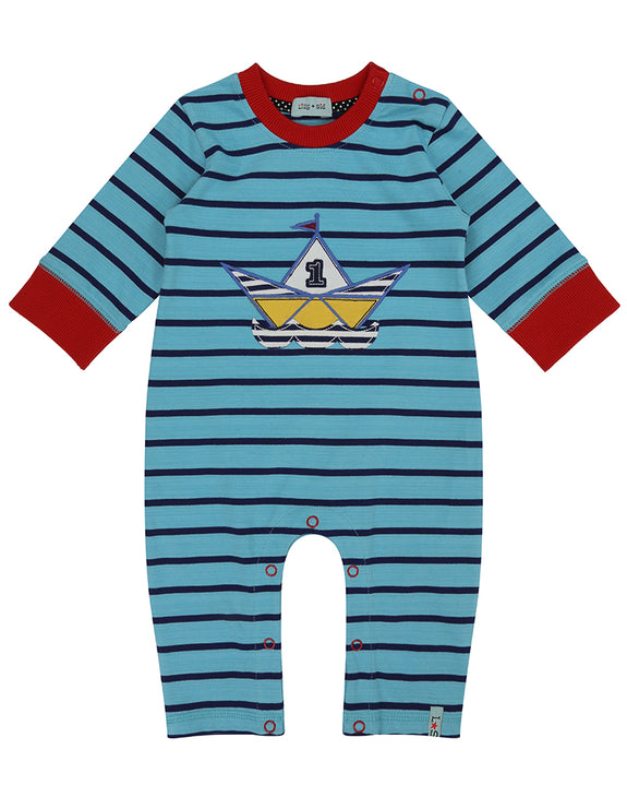 Stripe Applique Playsuit- Origami Boat