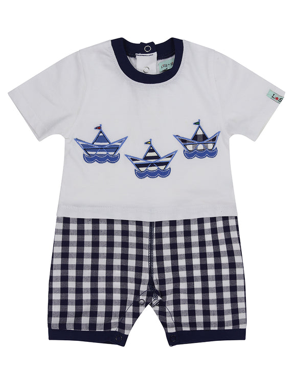 Mock 2Pc Romper- Gingham/Boats