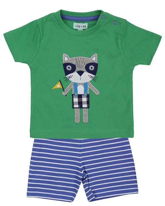 Applique Short Set- Walter Raccoon