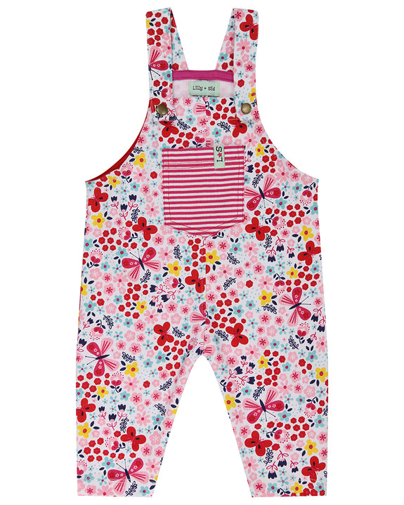 Jersey Dungaree Set- Butterfly Florals