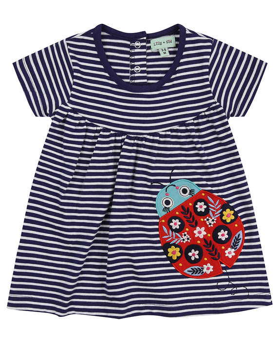 Applique Jersey Dress- Ladybug Stripe