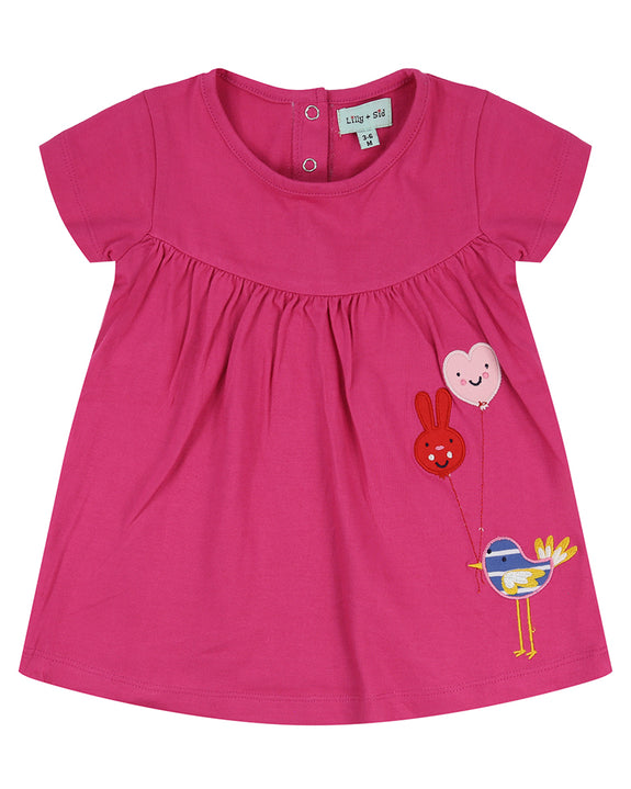 Applique Jersey Dress- Balloon Birdie