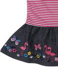 Chambray Skirt Dress Set- Flamingo Applique