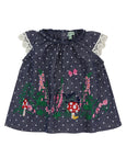 Woven Dress With Embroidery- Country Garden