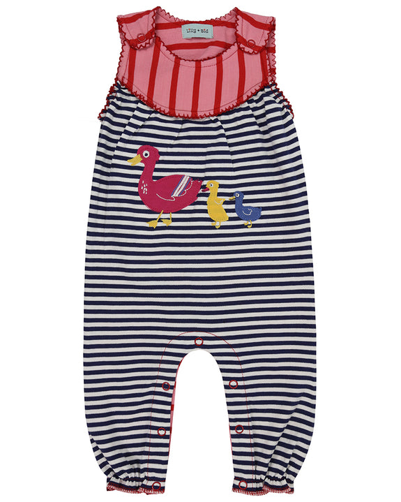 Applique Jersey Dungarees- Duck Family