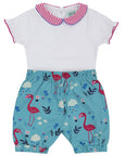 Collar Bodysuit And Bloomer Set- Woven Flamingo
