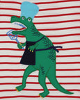 Applique Stripe T- Cooking Dino
