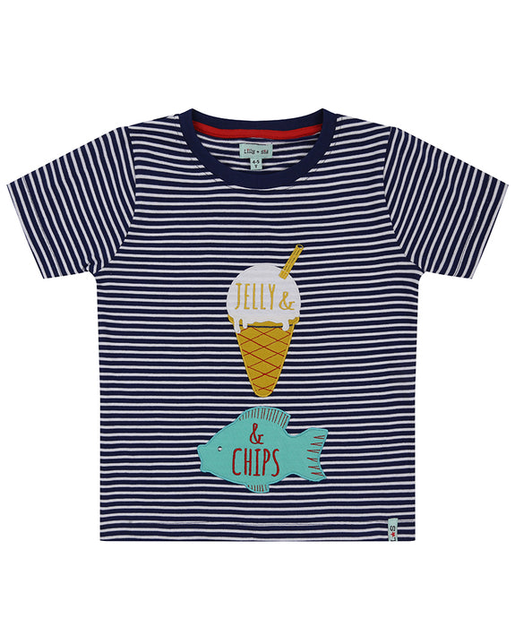 Applique Stripe T- Fish + Chips