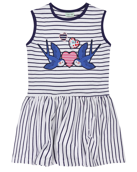 Stripe Applique Dress- Love Birds