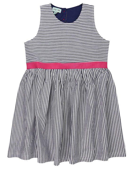 Ticking Stripe Dress- Flamingo Applique