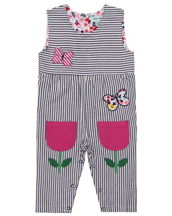 Flower Pocket Woven Dungaree