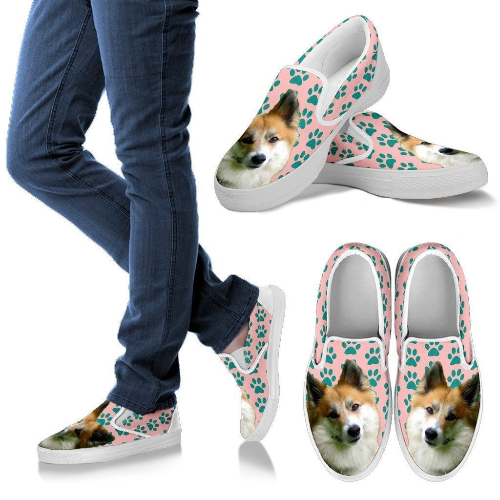 Icelandic Sheepdog Print Slip Ons For Women-Express Shipping