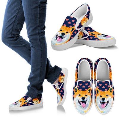 Valentine's Day Special-Shiba Inu Dog Print Slip Ons For Women- Free Shipping