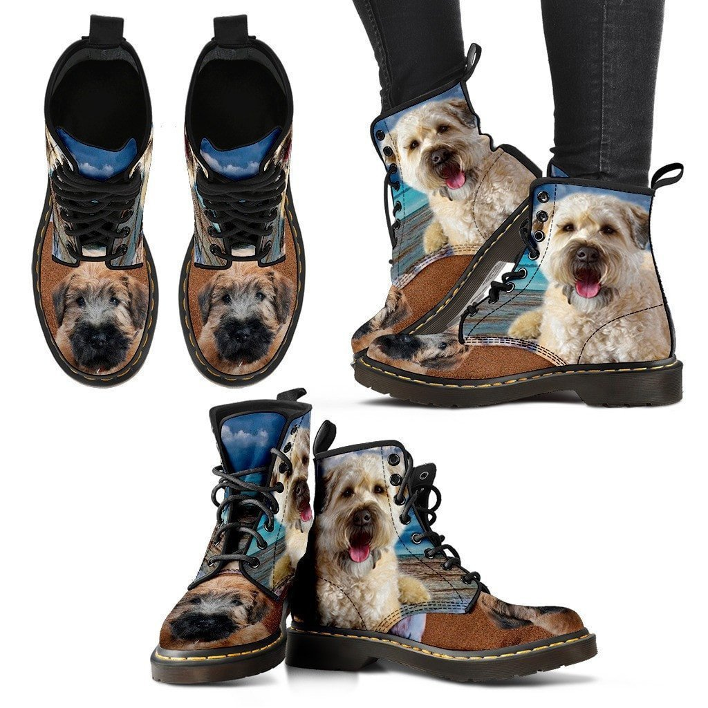 Soft Coated Wheaten Terrier Print Boots For Women-Express Shipping