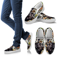 Amazing Black Labrador Print Slip Ons For Women-Express Shipping