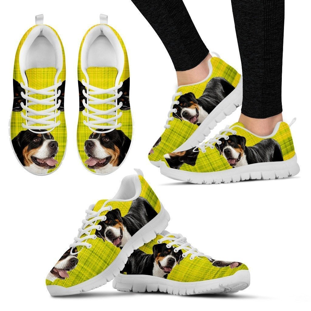 Greater Swiss Mountain Dog Print (Black/White) Running Shoes For Women-Free Shipping