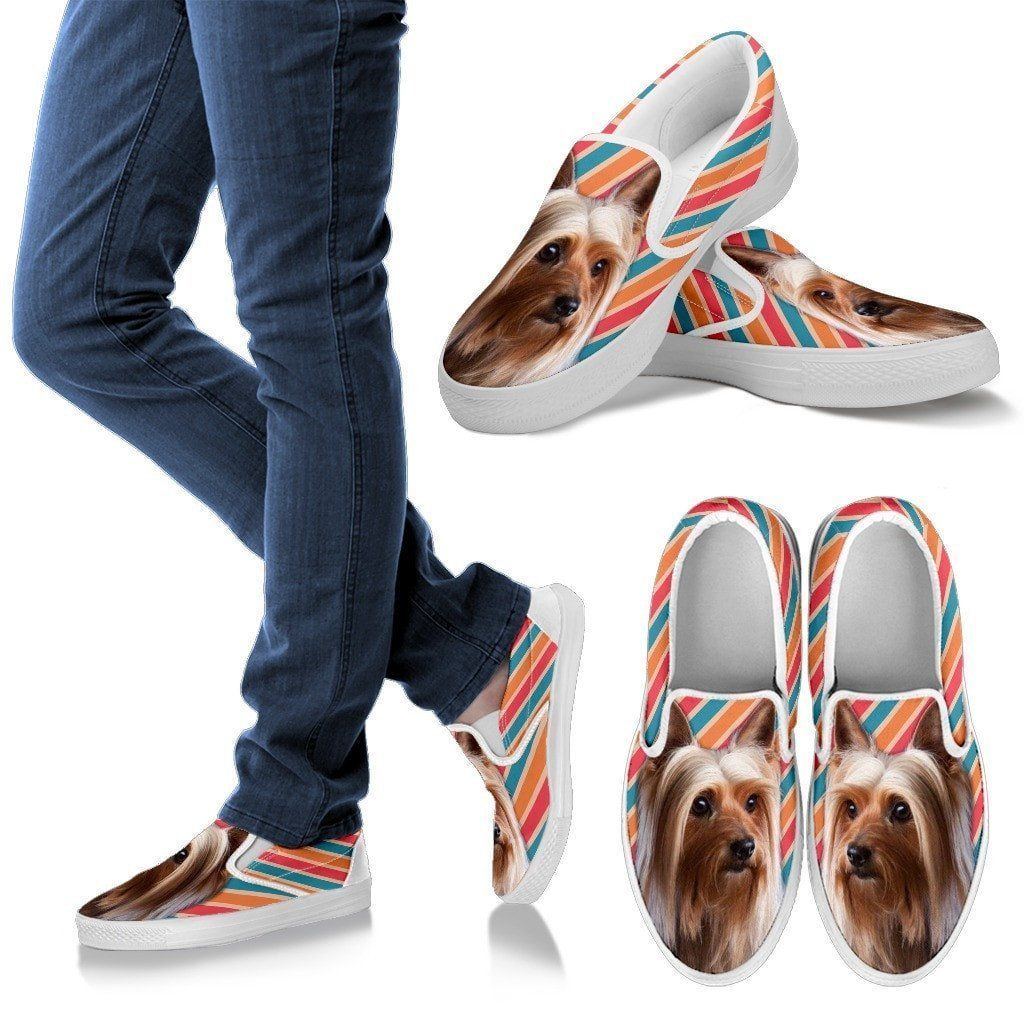 Silky Terrier Print Slip Ons For Women- Express Shipping