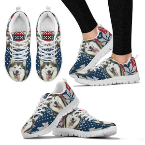 Alaskan Malamute Christmas Running Shoes For Women- Free Shipping