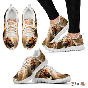 On Demand Dog Print (Black/White) Running Shoes For Women-Free Shipping