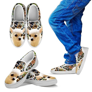 Amazing Chihuahua Print Slip Ons For Kids-Express Shipping