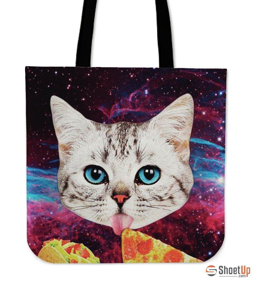 Cat Eat Pizza Tote Bag-3D Print-Free Shipping